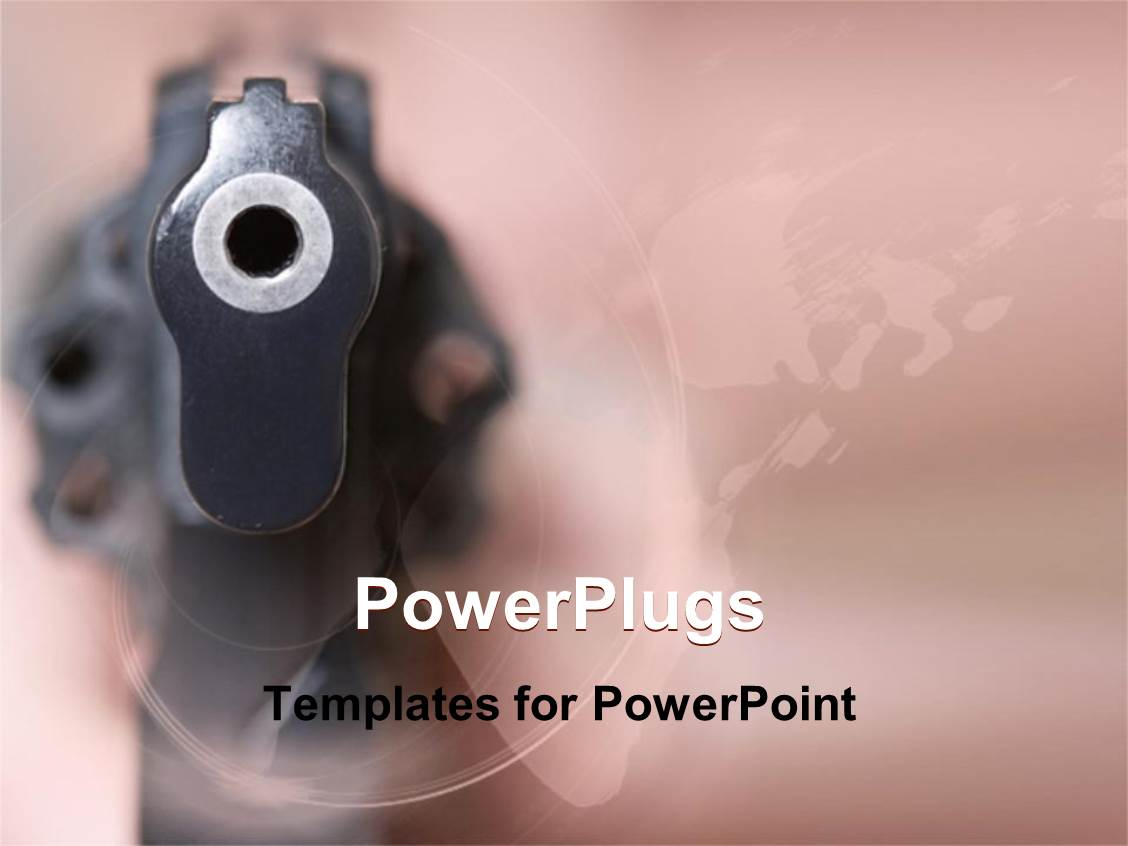 Defense powerpoint templates ppt themes with defense backgrounds audience pleasing slide deck featuring close up gun revolver pointing at you pink background template size alramifo Image collections