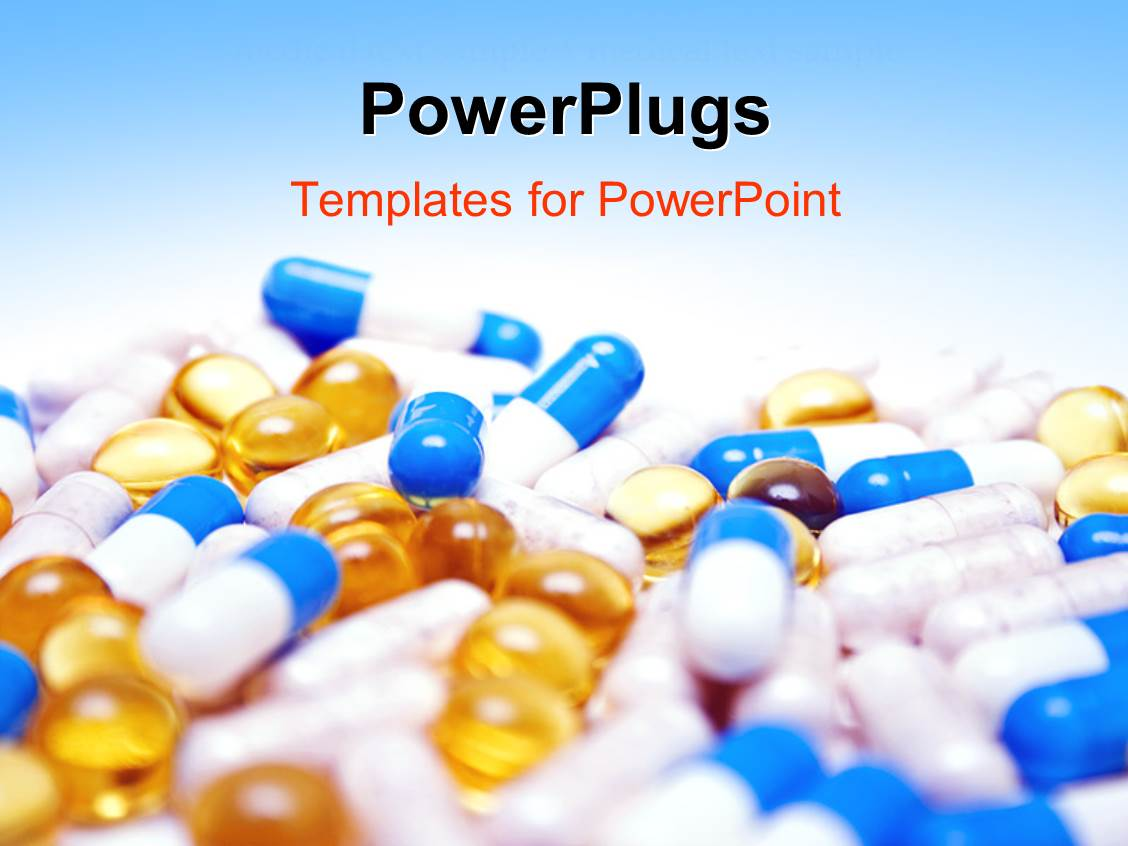 Powerpoint template close up view of multi colored tablets and powerpoint template displaying close up view of multi colored tablets and capsules with blue color alramifo Images