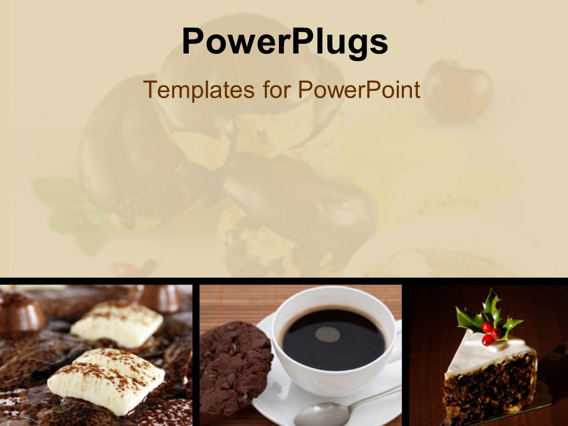 Powerpoint template beautiful cakes shaped like domes with theme enhanced with collage of chocolate and coffee in white cup with blurred apple toneelgroepblik Choice Image