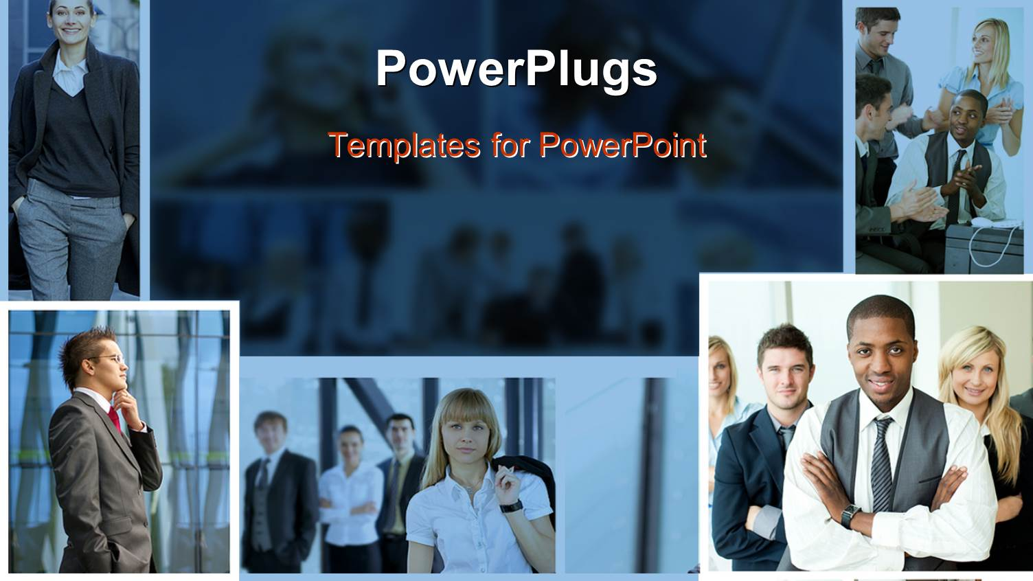powerpoint template collage of business professionals with binary