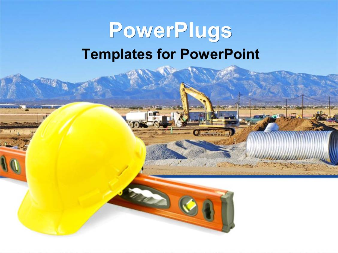 Construction powerpoint templates ppt themes with construction audience pleasing theme featuring construction equipment for work yellow construction hat level tool template size alramifo Images