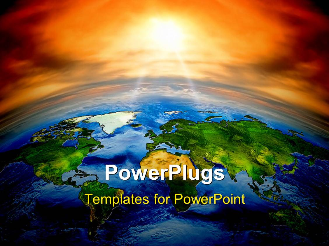 Powerpoint template climate change concept planet earth with elegant slides enhanced with all countries in the world on planet earth with sunset toneelgroepblik Images