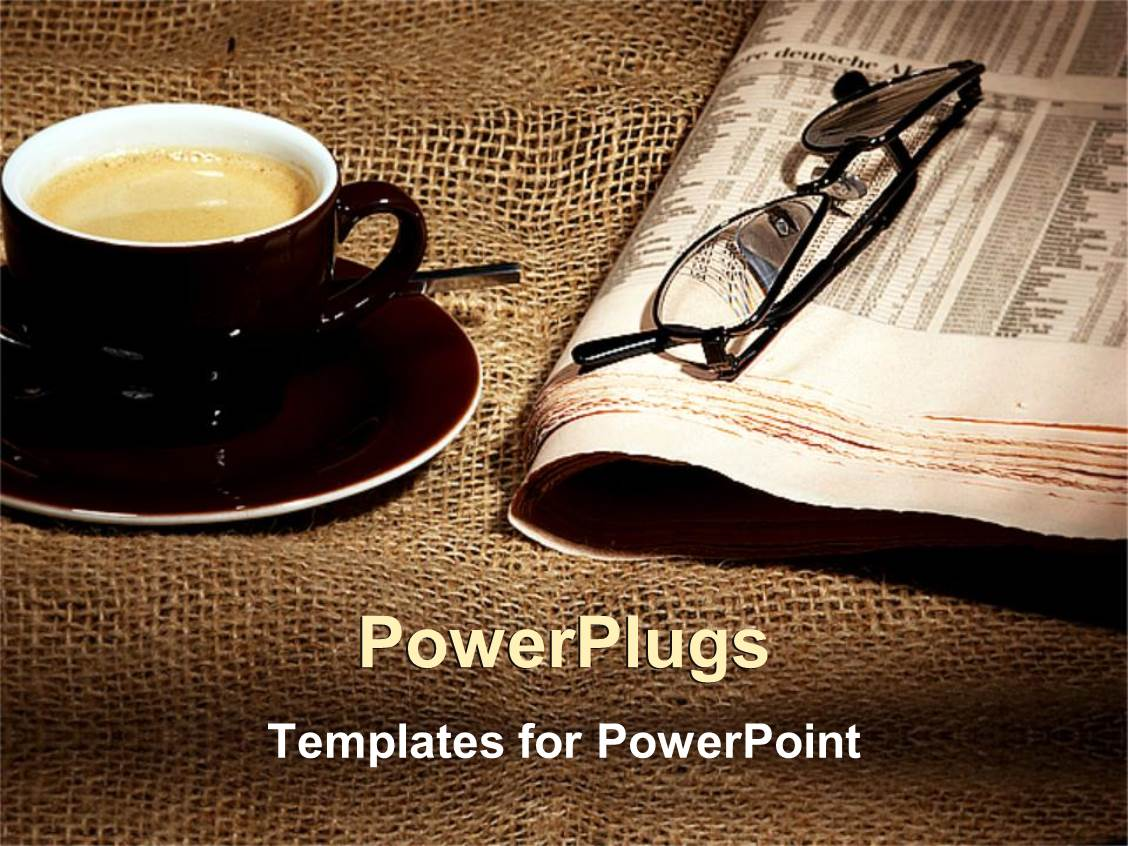 Powerpoint template cup of coffee on saucer and newspaper with powerpoint template displaying cup of coffee on saucer and newspaper with eyeglasses on rustic tablecloth alramifo Image collections