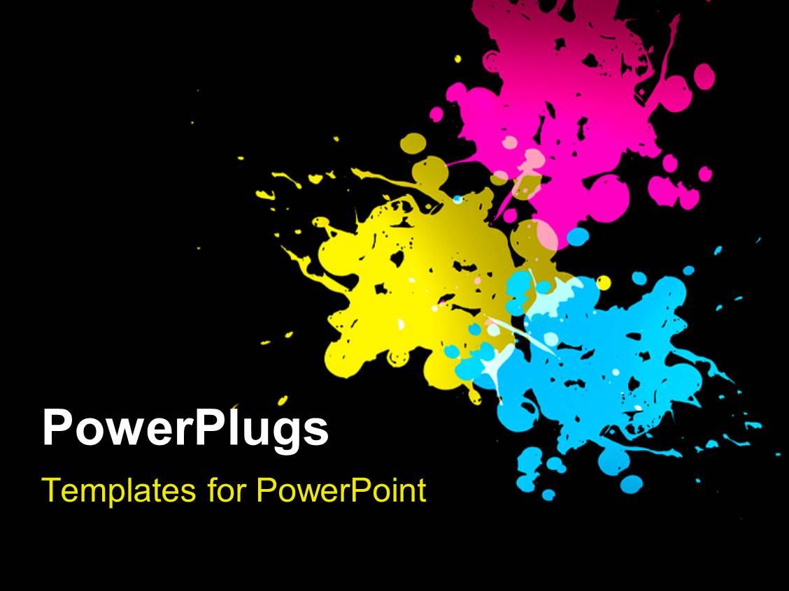 Powerpoint template black digital splatter art for science fiction ppt theme consisting of cyan magenta yellow paint splatters on black background toneelgroepblik Choice Image