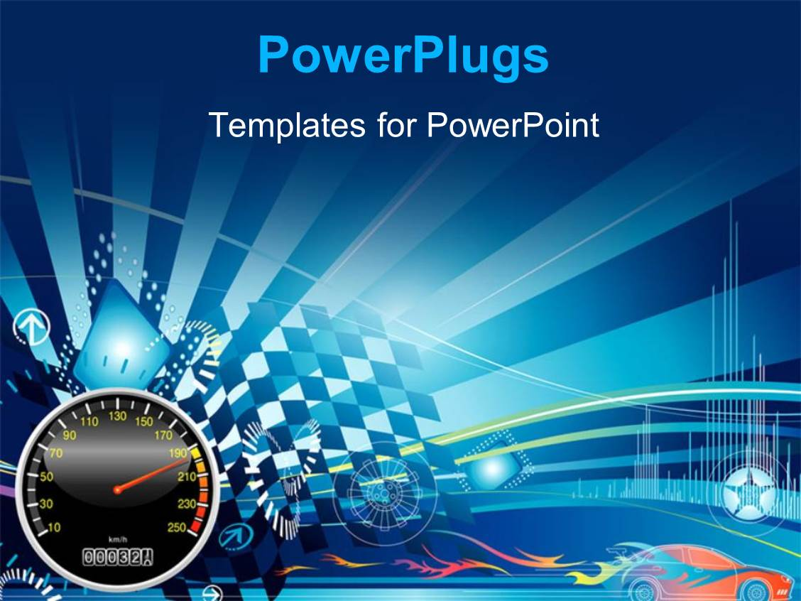 Powerpoint template fast racing car illustration with nice starry colorful presentation theme having depiction of car racing with speedometer and racing flags toneelgroepblik Choice Image