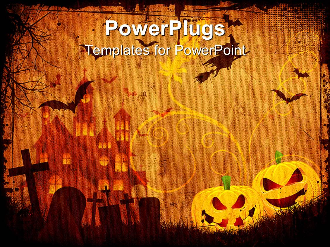 Powerpoint template depiction of halloween with bats in sky and powerpoint template displaying depiction of halloween with bats in sky and carved grapes alramifo Choice Image