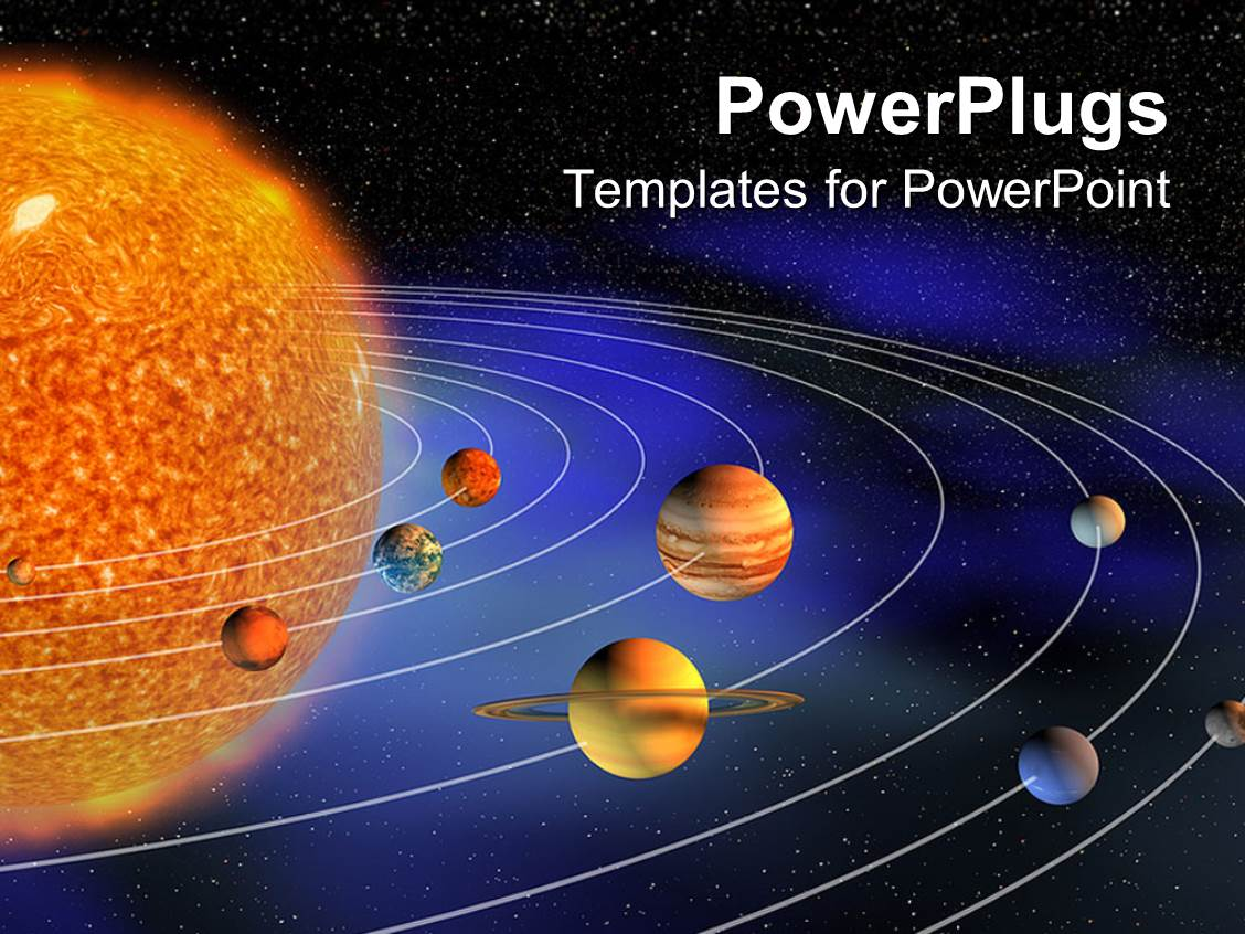 Solar system powerpoint templates crystalgraphics elegant theme enhanced with diagram representing planets of the solar system on the background representing the template size toneelgroepblik Images