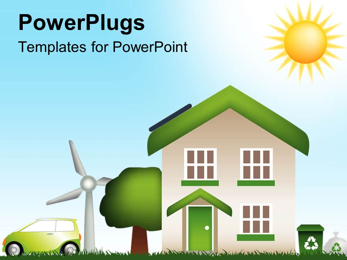 5000 eco powerpoint templates w eco themed backgrounds slides consisting of digital design of a house with tree green car windmill and toneelgroepblik Images