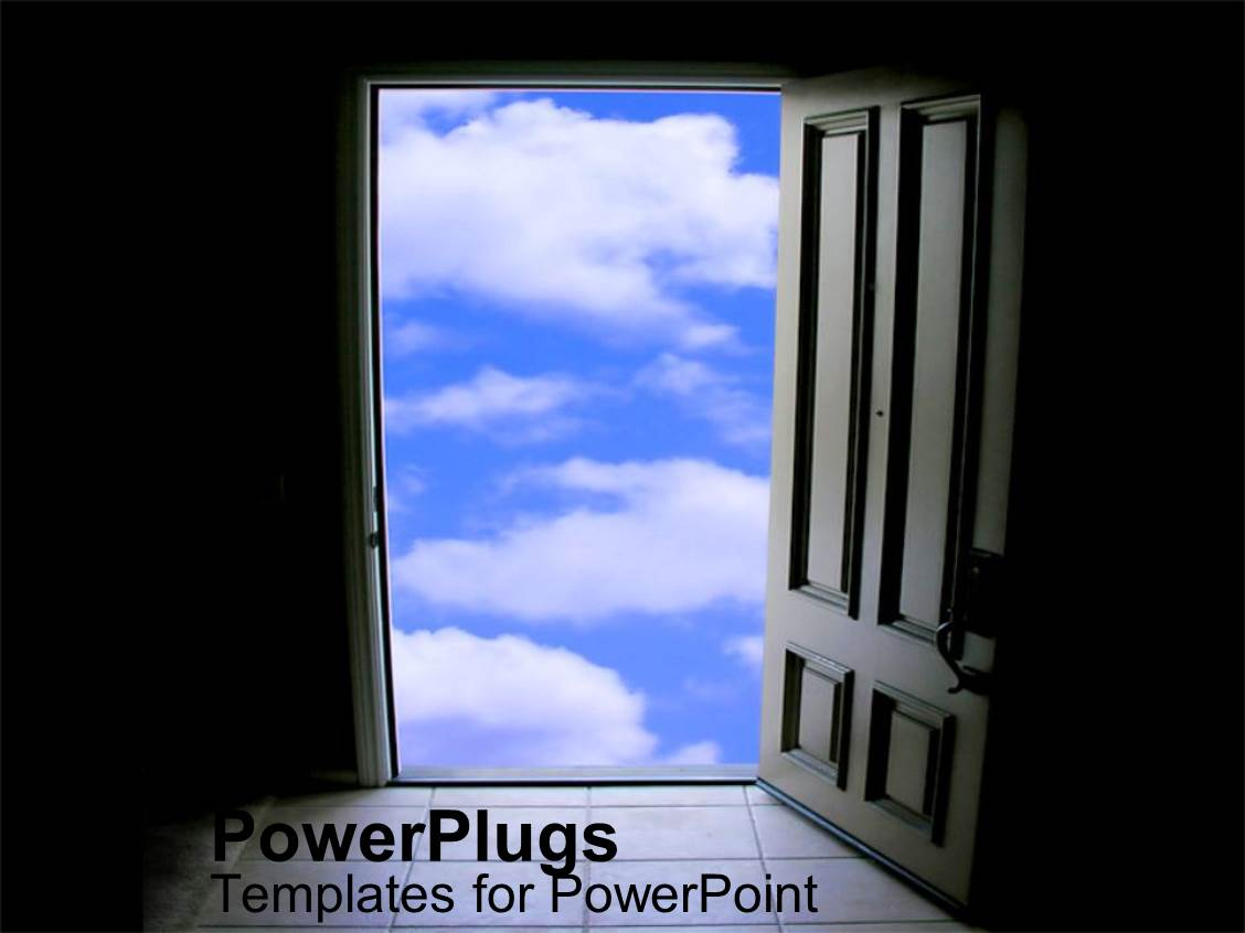 PowerPoint Template Displaying Door of Opportunity Knocking Window as a Metaphor Blue Skies Positive Outlook