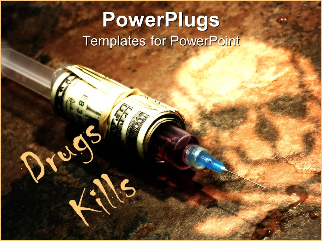5000 drug addiction powerpoint templates w drug addiction themed slide deck with drug syringe covered in stack of money on dark background with skull template size toneelgroepblik Choice Image