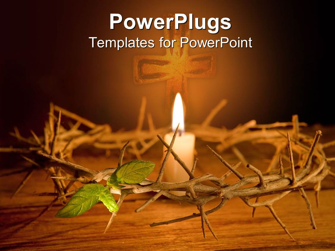 PowerPoint Template Displaying Easter Theme with Crown of Thorns and Burning Candle in the Middle with Cross in the Background