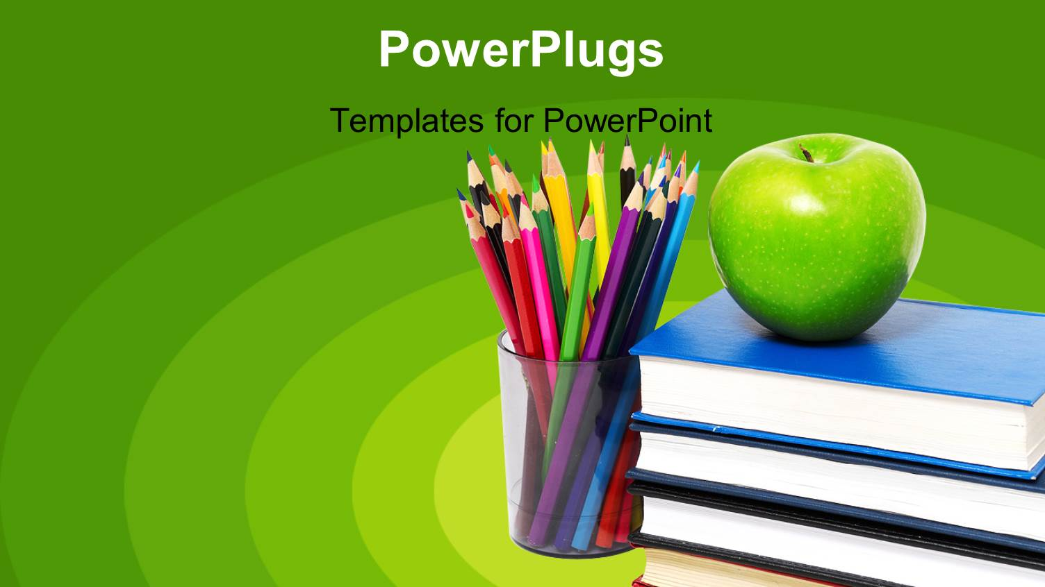 Powerpoint template globe books with students in background audience pleasing slides featuring education green background with books apple and colored pencils in cup toneelgroepblik Choice Image