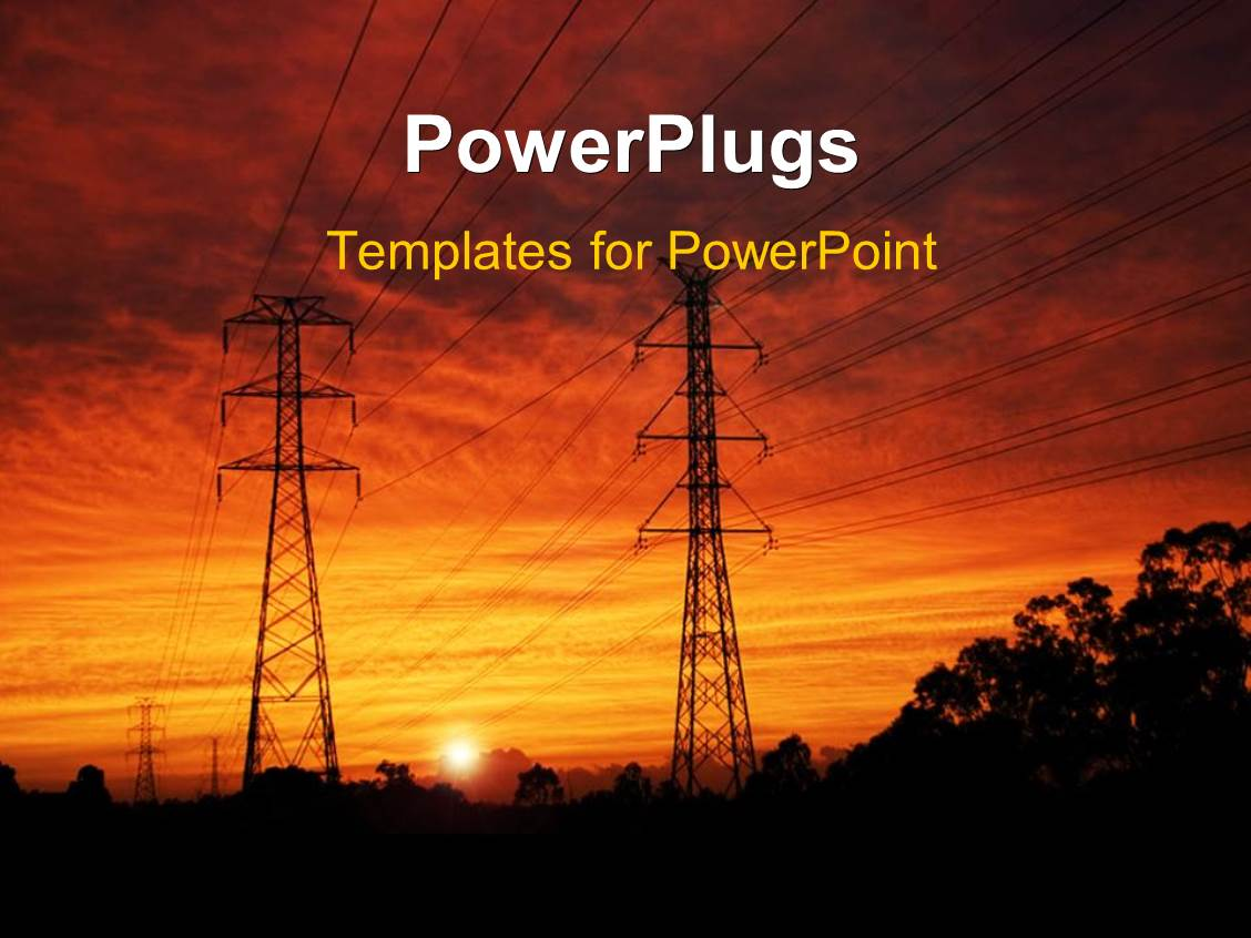 Powerpoint template construction worker with protective helmet over presentation theme featuring electrical pylons at dawn toneelgroepblik Image collections