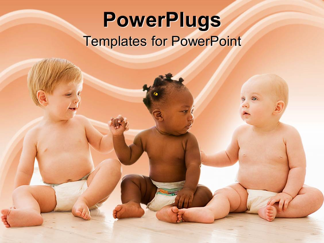 PowerPoint Template Displaying Equality Diversity Babies Baby Diapers  Friendship  Healthy Babies  Fairness Rights