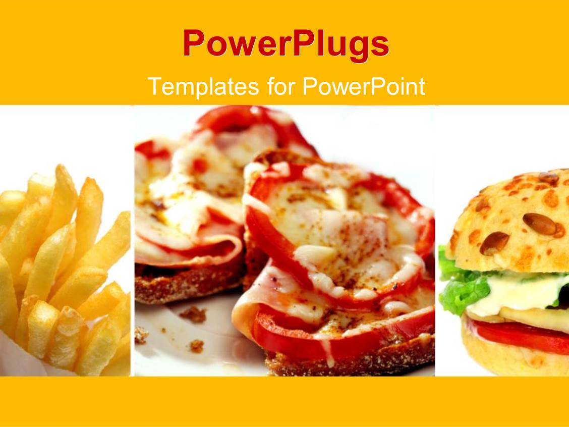 Powerpoint Template Fast Food Theme With Burger And French