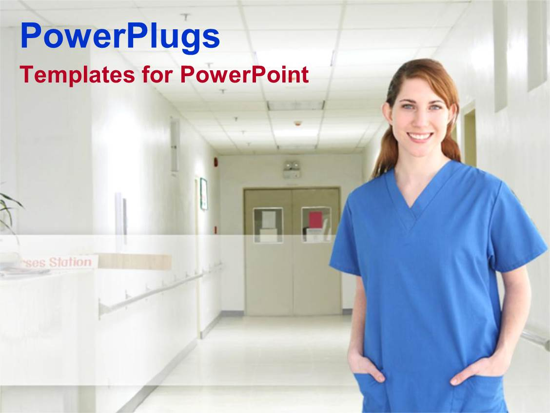 Magnificent nurse powerpoint template contemporary example resume powerpoint template female nurse in blue scrubs standing on a alramifo Gallery