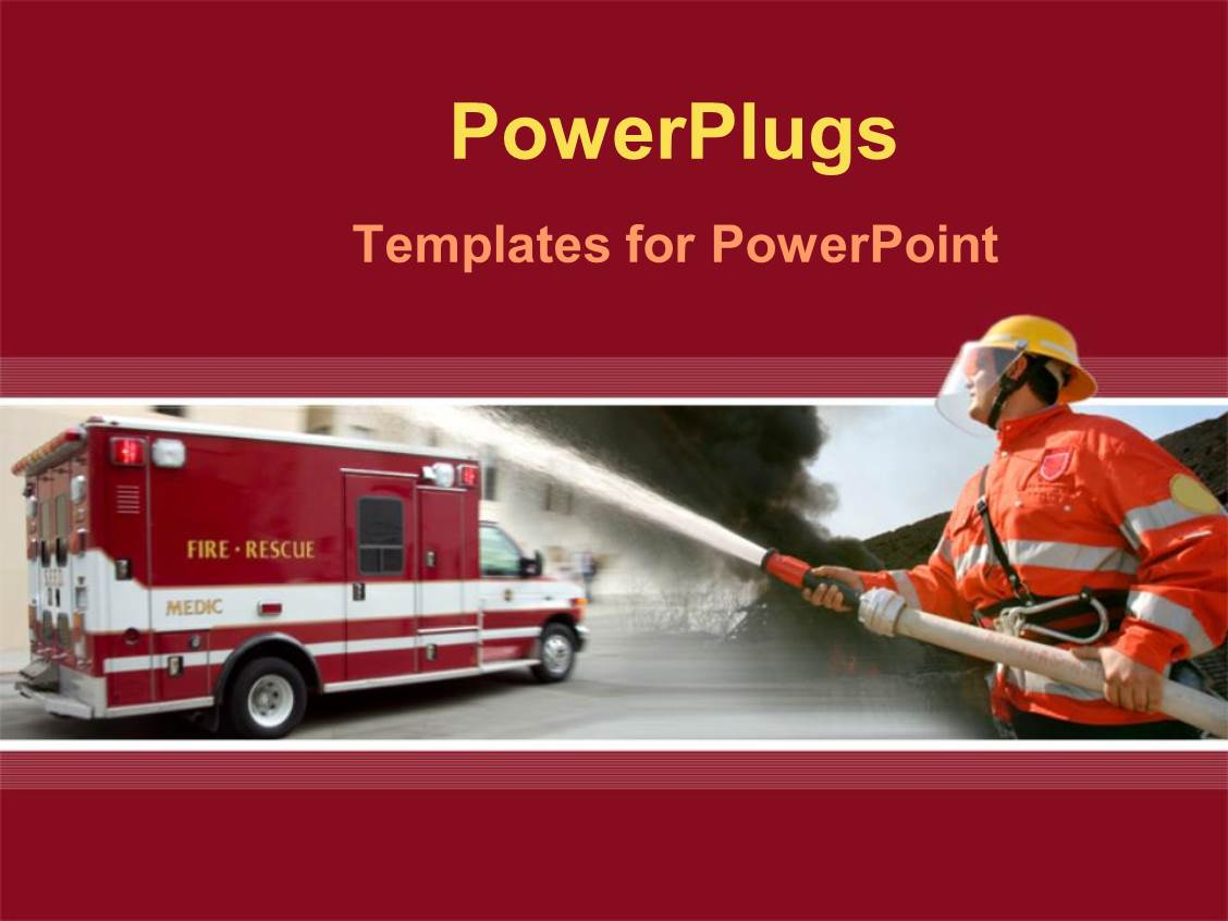 powerpoint template silhouette of a firefighter at a fire scene 12302