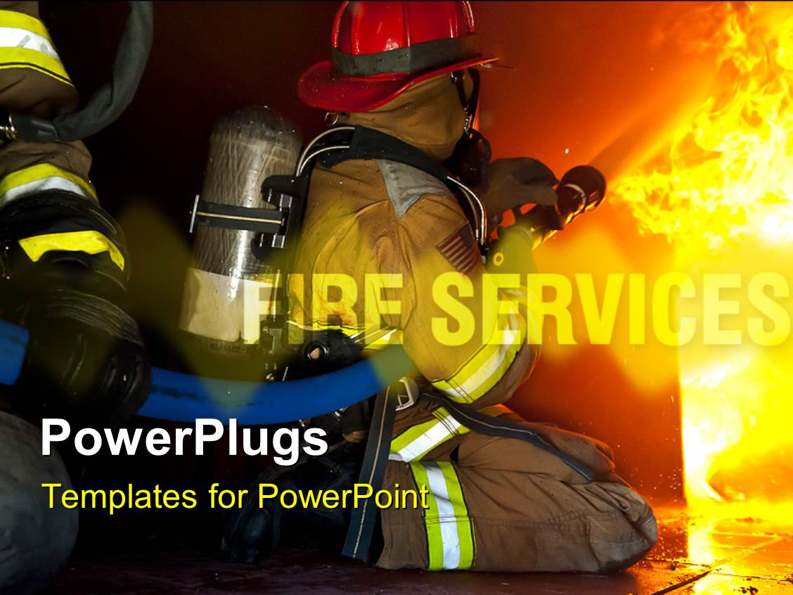 powerpoint template firefighters attack a fire in a training prop 12307. Black Bedroom Furniture Sets. Home Design Ideas