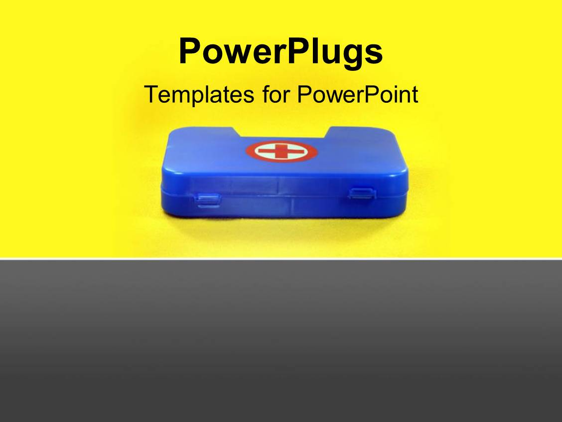 Powerpoint template first aid box depicting health and safety powerpoint template displaying first aid box depicting health and safety concept with yellow color alramifo Choice Image