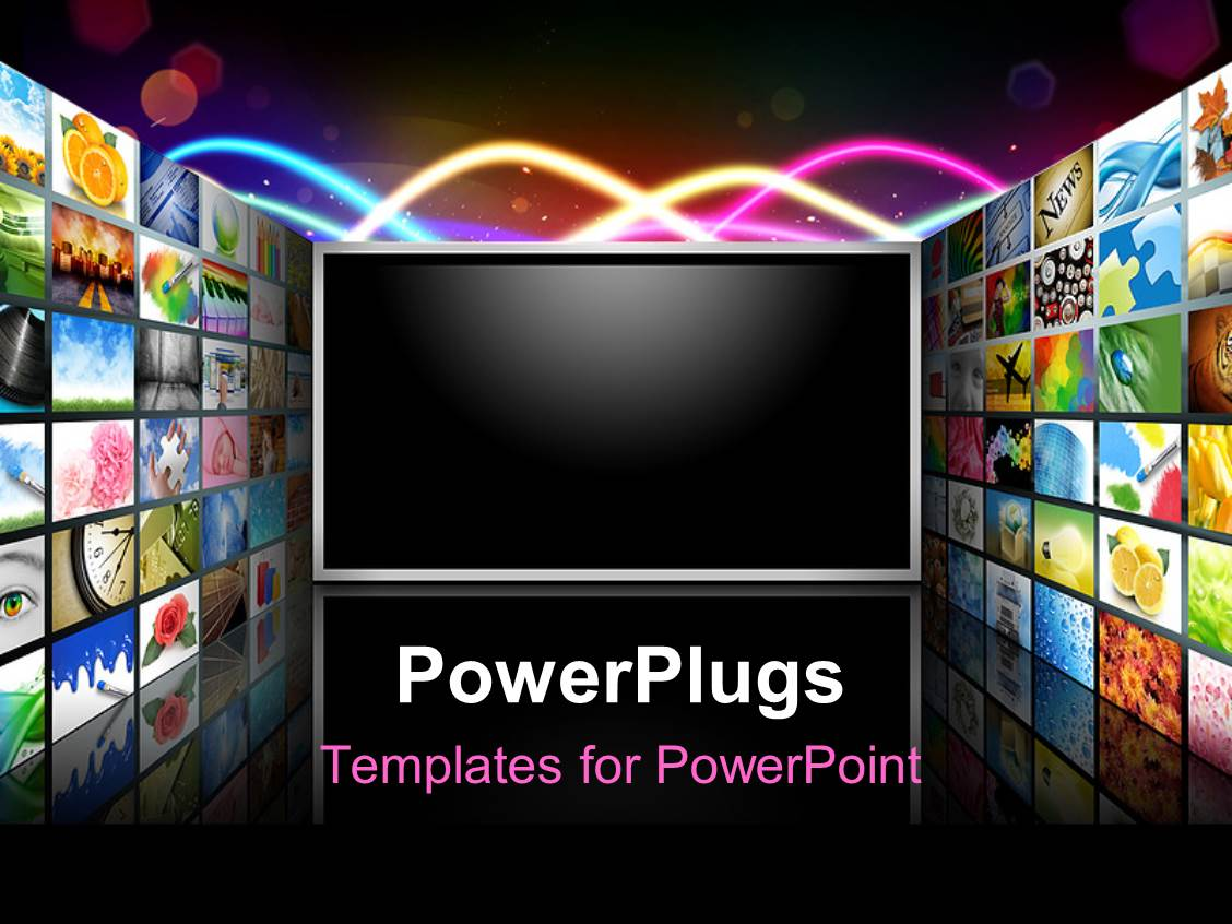 Powerpoint template laptop with blue cloud sky on screen red and beautiful presentation design with flat screen television surrounded with different wallpapers toneelgroepblik Image collections