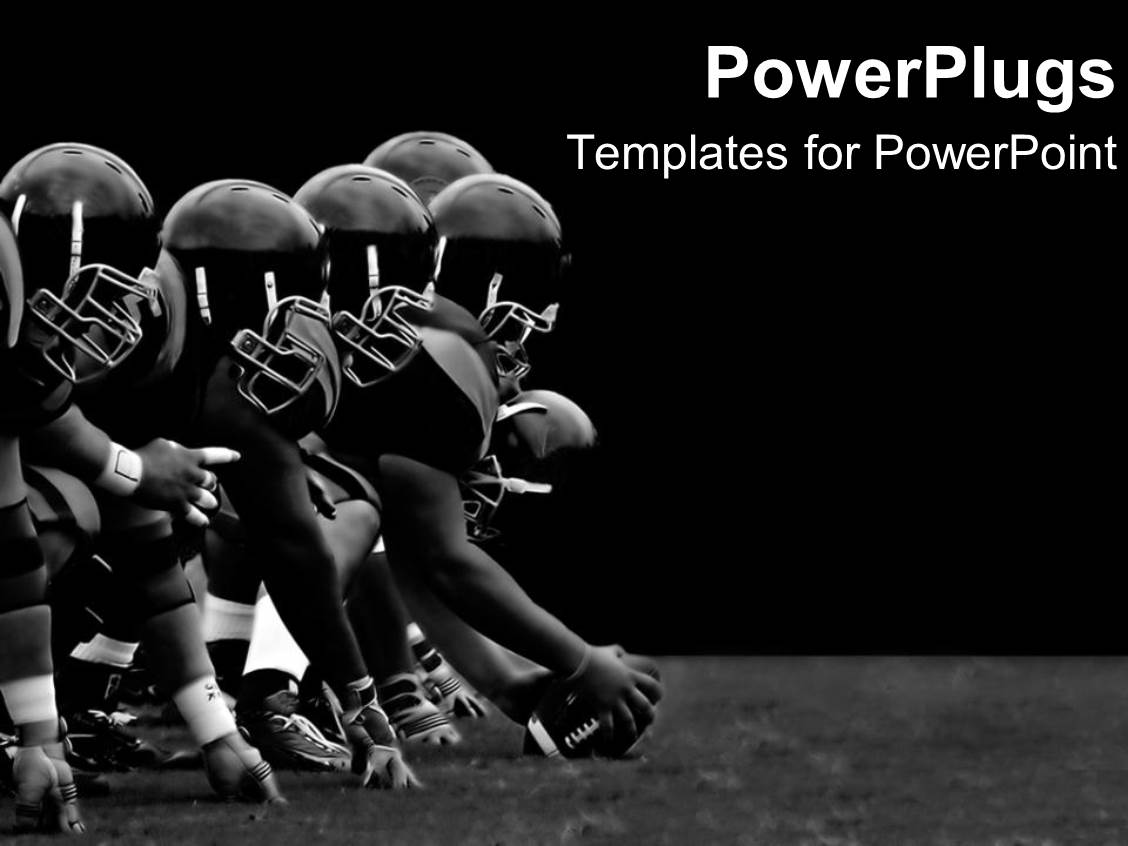 Powerpoint template football players hike black and white powerpoint template displaying football players hike black and white teamwork rough play sports athletes alramifo Images