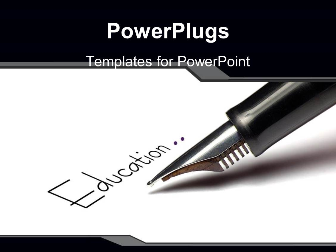 Top pen powerpoint templates backgrounds slides and ppt themes ppt theme having fountain pen writing for education paper pens pencils quill black and white template size toneelgroepblik Images