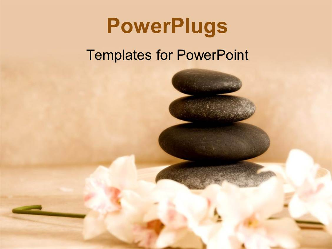 Powerpoint template four spa stones arranged on each other with powerpoint template displaying four spa stones arranged on each other with some flowers toneelgroepblik Gallery