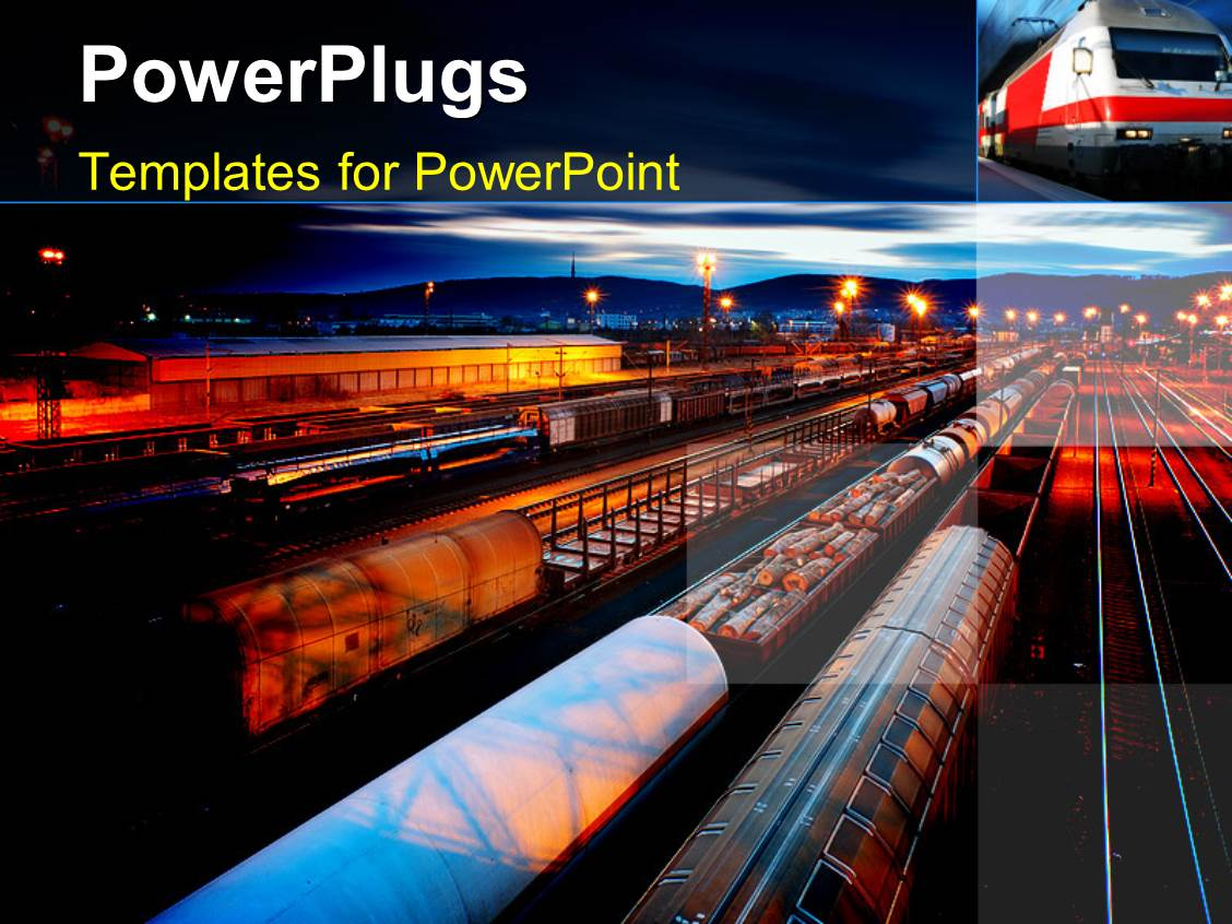 Railway powerpoint templates ppt themes with railway backgrounds audience pleasing ppt theme featuring freight station with the trains with the night lamps template size toneelgroepblik Choice Image