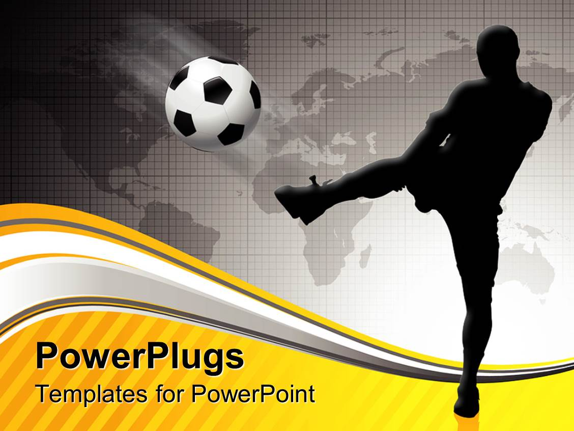 Powerpoint template tackle by defensive soccer player on football colorful slides having goals in life archive success soccer athlete sports black and white background grayscale alramifo Images