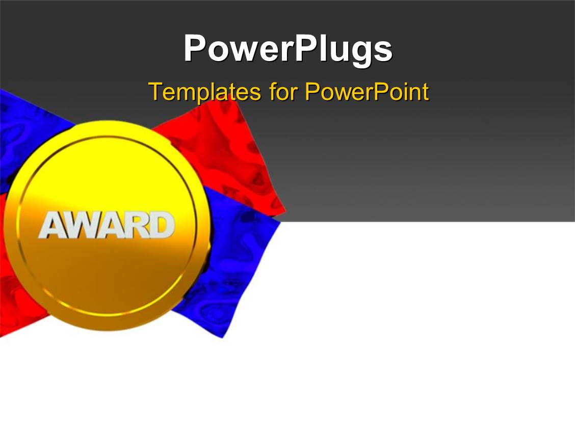 Powerpoint template award presentation of gold silver and bronze ppt theme with gold medal award with red and blue ribbon on grey and white surface toneelgroepblik Image collections