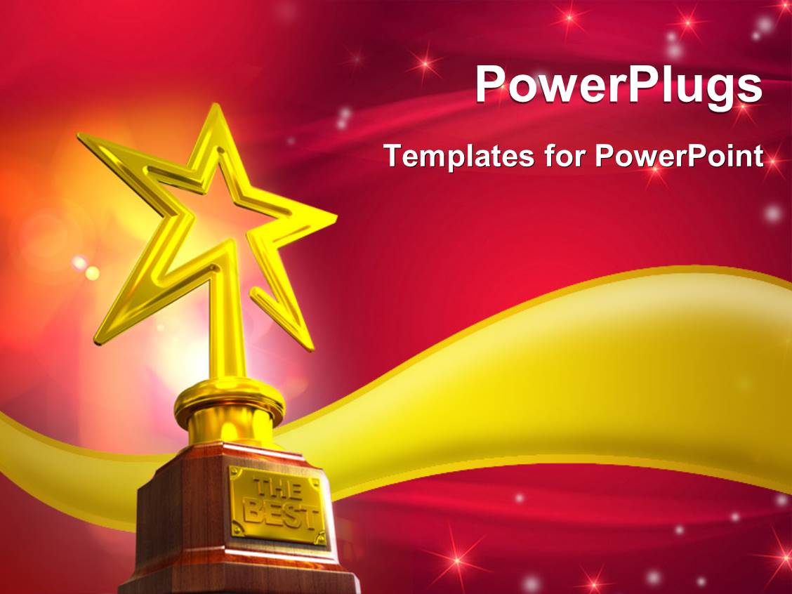 Slide Set Enhanced With Gold Star Trophy Placed Over A Golden Wave Glowing Stars And