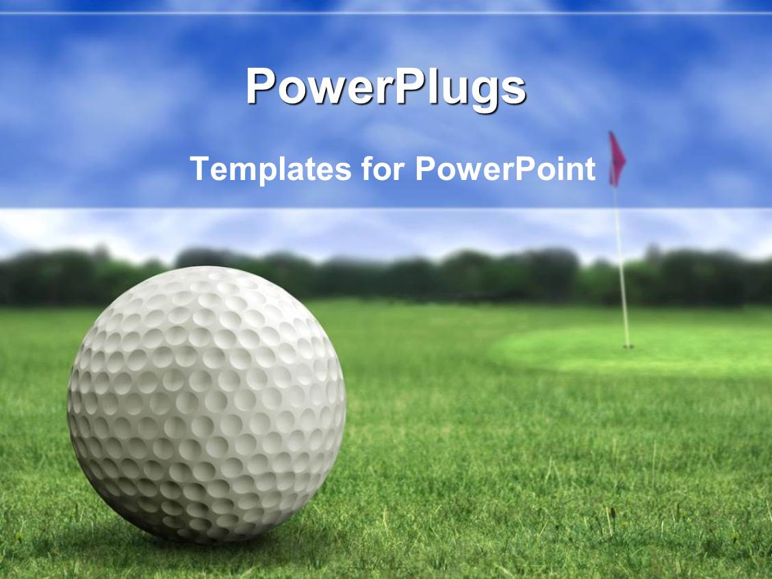 Powerpoint template basketball football tennis volleyball elegant ppt theme enhanced with golf ball on the golf playground on green short grass with alramifo Images