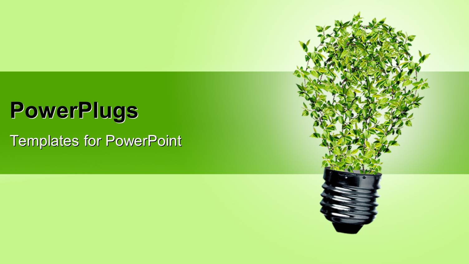 Powerpoint template white animated human figure with a lit light beautiful ppt theme with green bulb with leaves as a symbol of energy and nature depicting toneelgroepblik Gallery