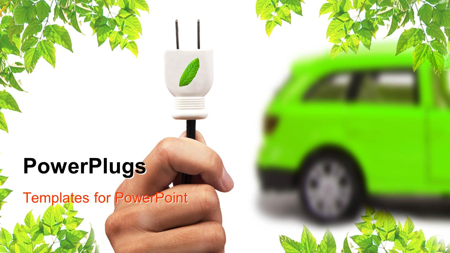 5000 electrical powerpoint templates w electrical themed backgrounds elegant slide deck enhanced with green electric car hand with white leaf motif plug template size toneelgroepblik Image collections