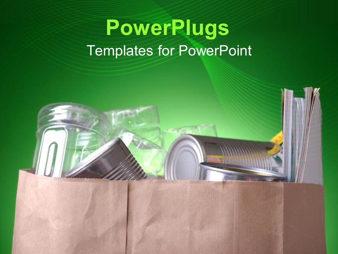 5000 grocery powerpoint templates w grocery themed backgrounds presentation theme having grocery bag with silver cans plastic bottles and magazines on abstract green template size toneelgroepblik Gallery