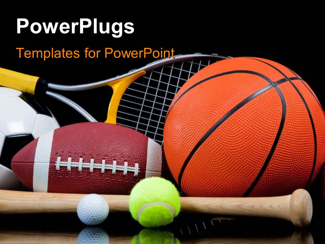 Equipment powerpoint templates ppt themes with equipment backgrounds presentation design enhanced with group of sports equipment on black background including tennis basketball baseball american template size alramifo Images