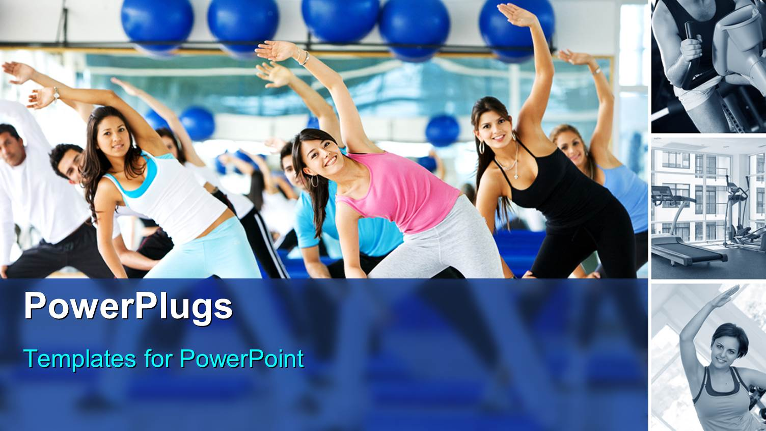 5000 gym powerpoint templates w gym themed backgrounds colorful ppt theme having group zumba class yoga exercise stretching blue background toneelgroepblik Images