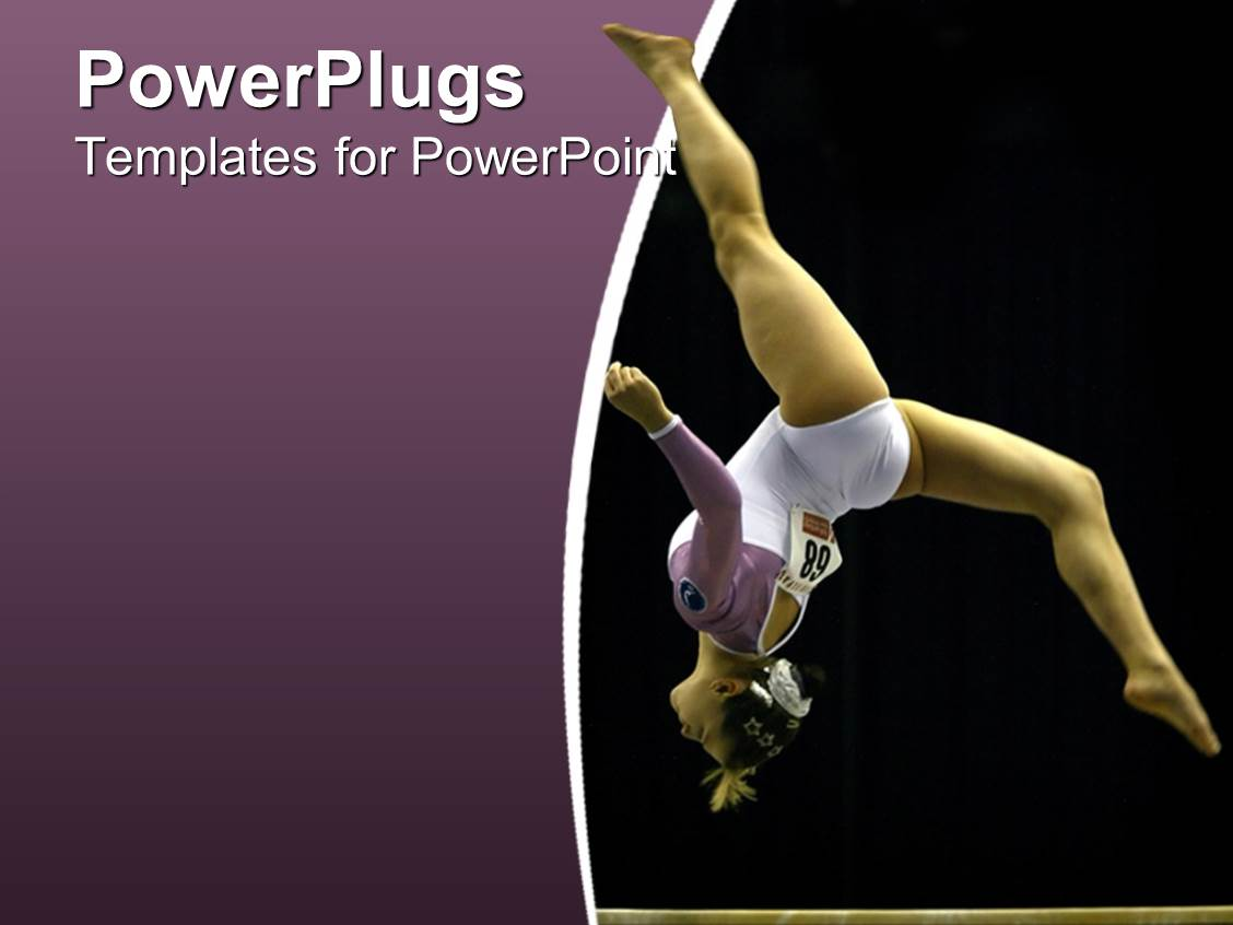 5000 gymnastics powerpoint templates w gymnastics themed backgrounds elegant theme enhanced with gymnast woman athlete making a somersault on purple and black background template size toneelgroepblik Images
