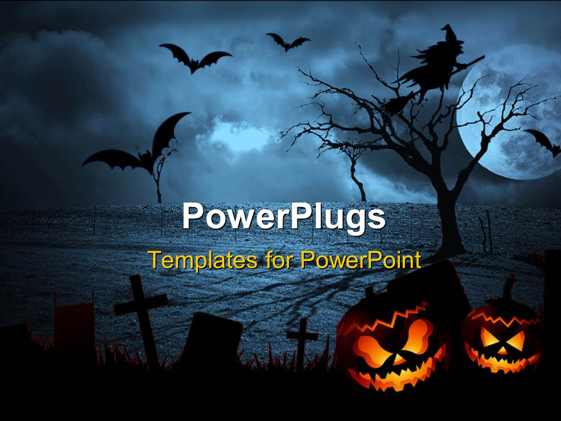 Powerpoint template halloween depictions with haunted house bats beautiful slides with halloween dark scenery with naked trees full moon and clouds in the alramifo Choice Image