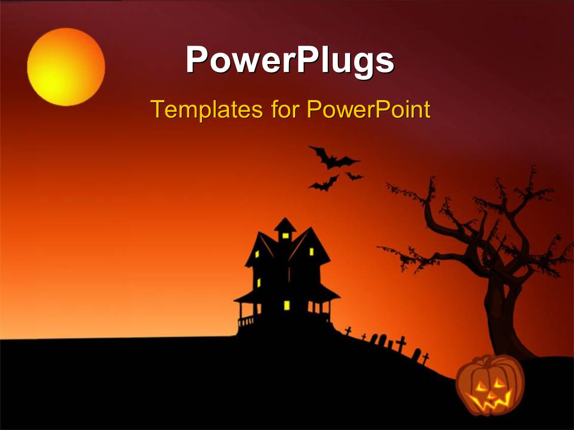 powerpoint template halloween depictions with haunted house bats graveyard and pumpkin 15349. Black Bedroom Furniture Sets. Home Design Ideas