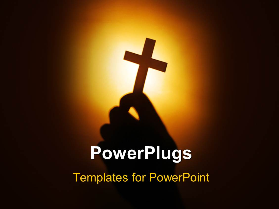 Christian powerpoint templates ppt themes with christian backgrounds slides featuring hand holding cross over with light glow in background alramifo Image collections