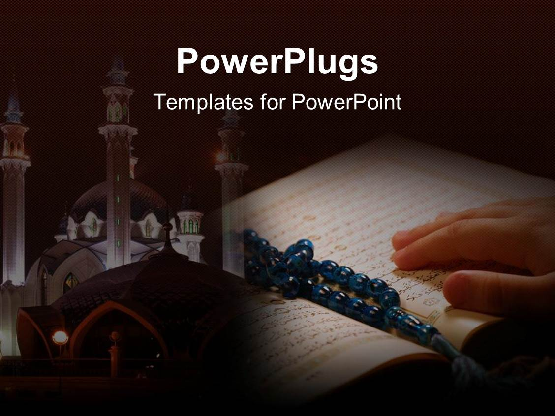 5000 islam powerpoint templates w islam themed backgrounds ppt theme featuring hand on koran with prayer beads and a temple in the background toneelgroepblik Images