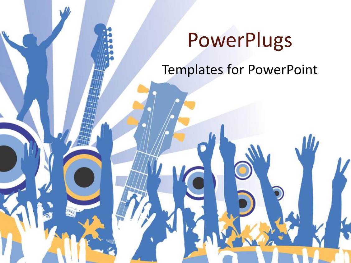 Powerpoint template rock band playing on stage in concert 20912 beautiful ppt theme with hands raised in the air for music concert with guitars and light toneelgroepblik Gallery