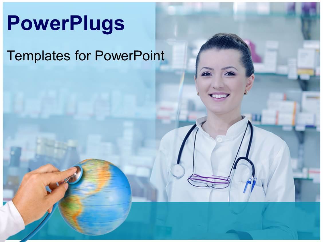 Pharmacy powerpoint templates ppt themes with pharmacy backgrounds presentation design consisting of happy cheerful pharmacist chemist woman standing in pharmacy drugstore template size presentation design consisting alramifo Images