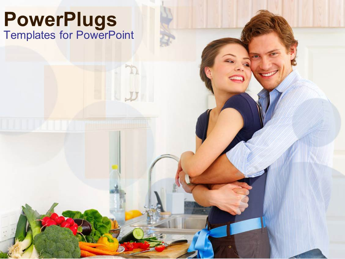 Kitchen powerpoint templates w kitchen themed backgrounds slides enhanced with happy couple hugging in kitchen vegetables on counter healthy eating template size toneelgroepblik Image collections