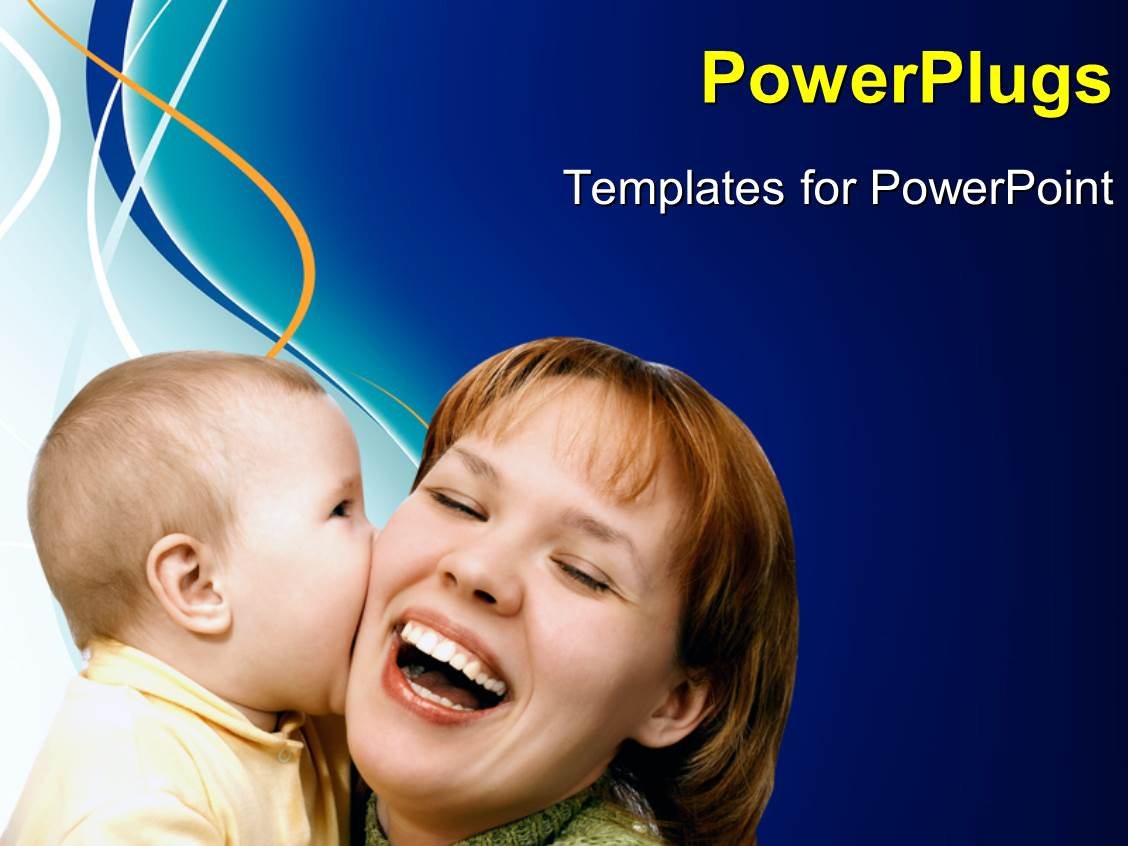 PowerPoint Template Displaying a Happy Mother Smiling and Playing with her Baby