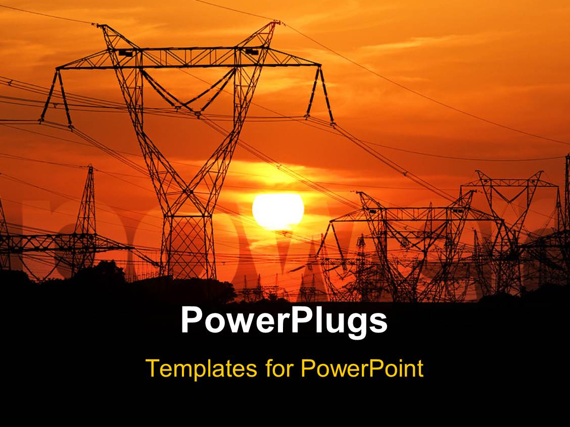 5000 High Voltage Powerpoint Templates W Themed Wiring Ppt Electrical Template Slides Having Electric Poles With Sunset Size Presentation Theme