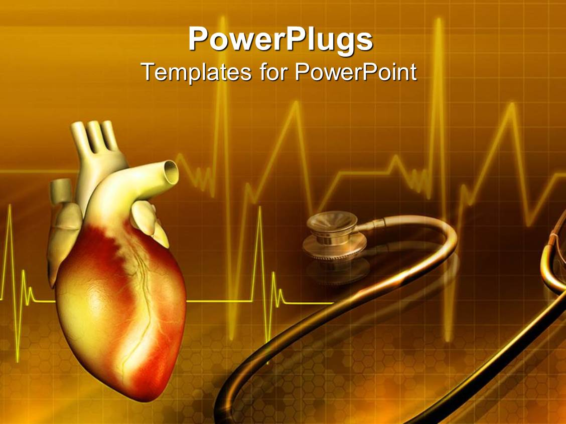 5000 medical devices powerpoint templates w medical devices themed presentation theme enhanced with human heart with a stethoscope on a brown colored background toneelgroepblik Image collections