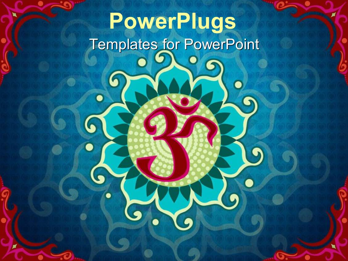 Powerpoint template creative background with indian flag color slide deck consisting of indian aum symbol over blue background with red edges toneelgroepblik Images