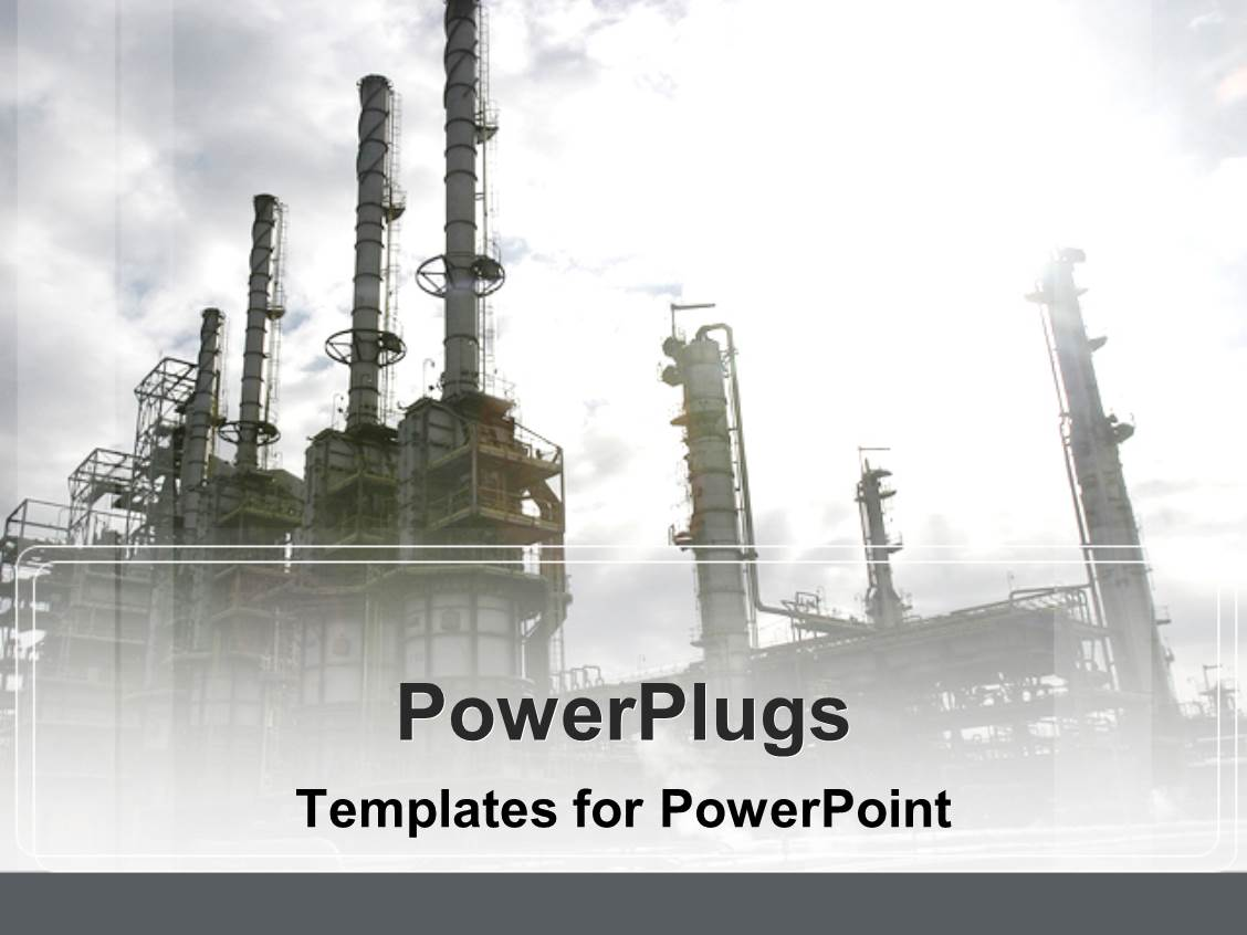 Oil industry powerpoint templates crystalgraphics audience pleasing presentation featuring industrial depiction of oil industry plant on gray sky background template size toneelgroepblik Gallery
